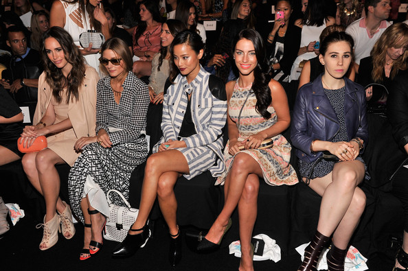 MBFW: Front Row at Rebecca Minkoff  [fashion,fashion model,event,audience,fashion design,fashion show,leg,runway,thigh,haute couture,rebecca minkoff spring 2014 runway show,janelle monae,jamie chung,olivia palermo,jessica lowndes,american express unstaged,collaboration,front row,tresemme,rebecca minkoff spring 2014]
