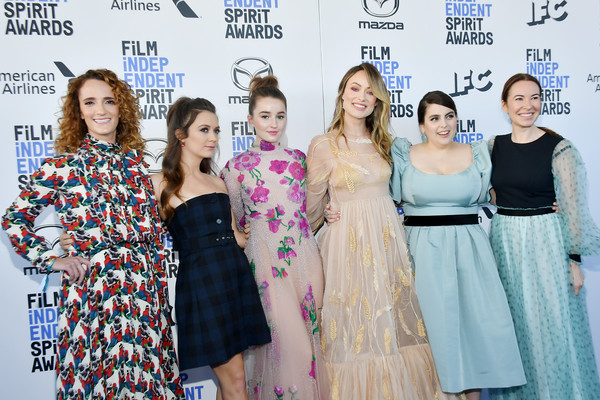 2020 Film Independent Spirit Awards  - Red Carpet [red carpet,fashion,dress,event,fashion design,premiere,haute couture,carpet,fashion designer,flooring,style,olivia wilde,kaitlyn dever,jessica elbaum,billie lourd,katie silberman,beanie feldstein,l-r,santa monica,film independent spirit awards,35th independent spirit awards,united states,nothing left unsaid: gloria vanderbilt anderson cooper,photograph,red carpet,celebrity,premiere]