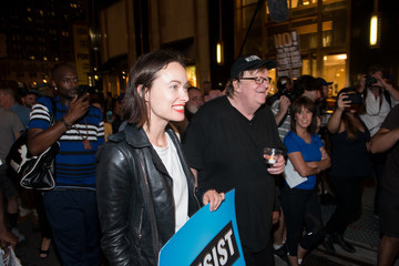 Olivia Wilde Michael Moore Takes His Broadway Audience to Trump Tower to Protest