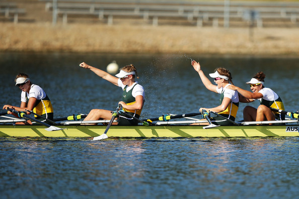Samsung World Cup in Sydney [rowing,sports,water transportation,water sport,watercraft rowing,outdoor recreation,oar,paddle,vehicle,boats and boating--equipment and supplies,madeleine edmunds,olympia aldersey,sarah perkins,jessica hall,l-r,sydney,australia,samsung,world cup,womens quadruple sculls final]