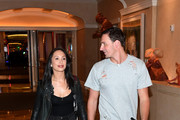"""Dancer Cheryl Burke (L) and Olympian Ryan Lochte arrive at a rehearsal for their """"Dancing with the Stars"""" performance with the cast of """"O by Cirque du Soleil"""" at the Bellagio on September 30, 2016 in Las Vegas, Nevada."""