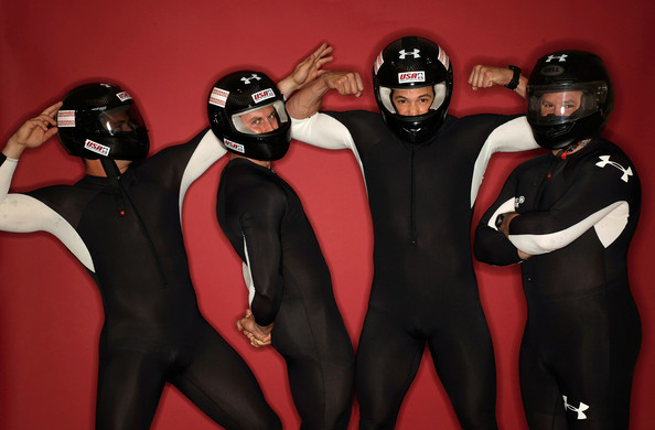 Justin Olsen Four man bobsled team members (L-R) Justin Olsen, Curtis Tomasevicz, Steve Mesler and Steve Holcomb pose for a portrait during Day Two of the 2010 U.S. Olympic Team Media Summit at the Palmer House Hilton on September 11, 2009 in Chicago, Illinois.