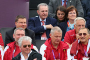 Jacques Rogge, President of the IOC, and his wife Anne  Rogge look on during the Men's Beach Volleyball Semi Final match between Brazil and Latvia on Day 11 of the London 2012 Olympic Games at Horse Guards Parade August 7, 2012 in London, England.