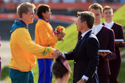 Silver medallist Sam Willoughby of Australia shakes hands with Prince Frederik of Denmark during the medal cermony for the Men's BMX Cycling Final on Day 14 of the London 2012 Olympic Games at the BMX Track on August 10, 2012 in London, England.