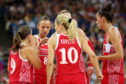 (L-R) Becky Hammon #9, Alena Danilochkina #8 and Ilona Korstin #10 of Russia talks with their teammates against Australia during the Women's Basketball Bronze Medal game on Day 15 of the London 2012 Olympic Games at North Greenwich Arena on August 11, 2012 in London, England.