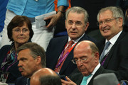 (L-R) Anne Rogge, IOC president Jacques Rogge and FIBA's President Yvan Mainini during the Men's Basketbal gold medal game between the United States and Spain on Day 16 of the London 2012 Olympics Games at North Greenwich Arena on August 12, 2012 in London, England.