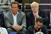 Arnold Schwarzenegger (L) and London Mayor Boris Johnson  during the Men's Basketball gold medal game between the United States and Spain on Day 16 of the London 2012 Olympics Games at North Greenwich Arena on August 12, 2012 in London, England.