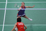 Susan Egelstaff of Great Britain competes during her Women's Singles Badminton match against Sayaka Sato of Japan on Day 4 of the London 2012 Olympic Games at Wembley Arena on July 31, 2012 in London, England.