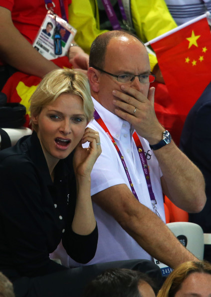 (L-R)  Princess Charlene and Prince Albert II of Monaco attend the night session of swimming on Day 5 of the London 2012 Olympic Games at the Aquatics Centre on August 1, 2012 in London, England.