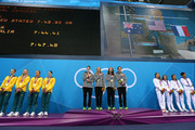 (L-R) SIlver medal winners team Australia, gold medal winners team United States and bronze medal winners team France stand on the podium during the medal ceremony for the Women's 4x200m Freestyle Relay on Day 5 of the London 2012 Olympic Games at the Aquatics Centre on August 1, 2012 in London, England.