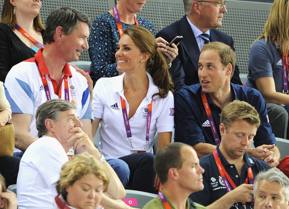 Sir Tim Lawrence, Catherine, Duchess of Cambridge and Prince William, Duke of Cambridge during Day 6 of the London 2012 Olympic Games at Velodrome on August 2, 2012 in London, England.
