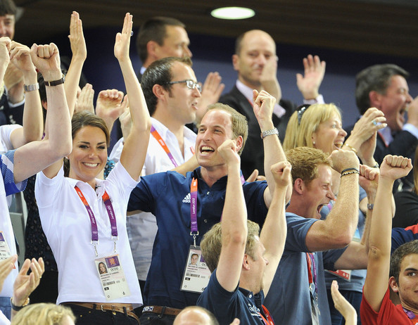 Catherine, Duchess of Cambridge, Prince William, Duke of Cambridge and Prince Harry during Day 6 of the London 2012 Olympic Games at Velodrome on August 2, 2012 in London, England.