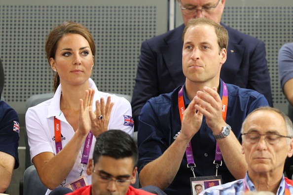 Catherine, Duchess of Cambridge and Prince William, Duke of Cambridge applaud as they watch the track cycling on Day 6 of the London 2012 Olympic Games at Velodrome on August 2, 2012 in London, England.