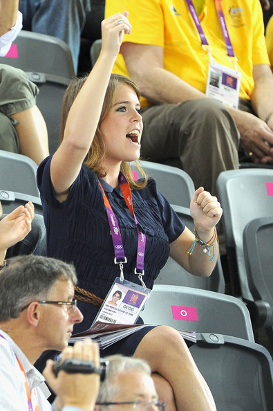 Princess Eugenie smiles as she watches the Track Cycling during Day 6 of the London 2012 Olympic Games at Velodrome on August 2, 2012 in London, England.