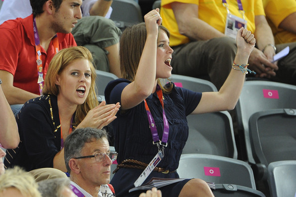 Princess Beatrice of York and Princess Eugenie of York watch the track cycling on Day 6 of the London 2012 Olympic Games at Velodrome on August 2, 2012 in London, England.