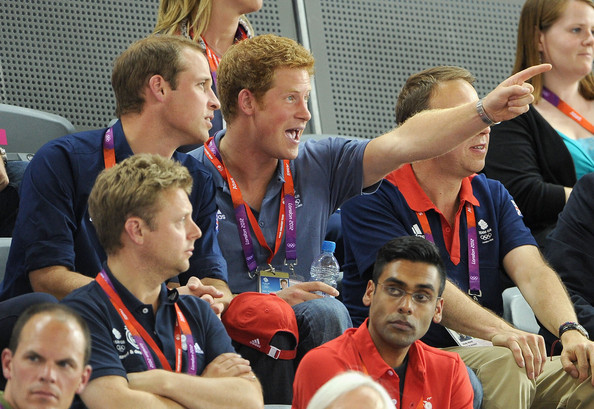 Prince William, Duke of Cambridge and Prince Harry watch the track cycling on Day 6 of the London 2012 Olympic Games at Velodrome on August 2, 2012 in London, England.