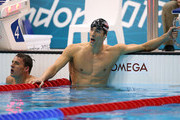 Michael Phelps of the United States reacts after winning gold in the Men's 200m Individual Medley final on Day 6 of the London 2012 Olympic Games at the Aquatics Centre on August 2, 2012 in London, England.