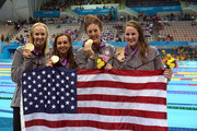 Gold medallists (L-R) Dana Volmer, Rebecca Soni, Allison Schmitt and Missy Franklin of the United States pose following the medal ceremony for the Women's 4x100m medley Relay Final on Day 8 of the London 2012 Olympic Games at the Aquatics Centre on August 4, 2012 in London, England.