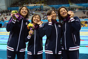 (L to R) Bronze medallists Haruka Ueda, Yuka Kato, Satomi Suzuki and Aya Terakawa of Japan pose following the medal ceremony for the Women's 4x100m medley Relay Final on Day 8 of the London 2012 Olympic Games at the Aquatics Centre on August 4, 2012 in London, England.