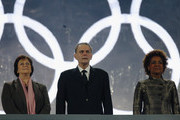 IOC President Jacques Rogge (C), his Wife Anne (L) and Governor General of Canada Michaelle Jean (R) attend the Opening Ceremony of the 2010 Vancouver Winter Olympics at BC Place on February 12, 2010 in Vancouver, Canada.