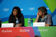Creative directors for the Opening Ceremonies Daniela Thomas and Andrucha Waddington speaks with the media during a press conference at the Main Press Centre ahead of the Rio 2016 Olympic Games on August 4, 2016 in Rio de Janeiro, Brazil.