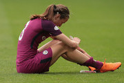 Jill Scott of Manchester City Women looks dejected at the end of the UEFA Women's Champions League, Semi Final Second Leg match between Olympique Lyonnais and Manchester City at Groupama Stadium on April 29, 2018 in Lyon, France.