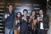 "(l-r) Thomas Heinze, Fernanda Brandao, Akihiko Murata (General Manager Olympus Consumer Products Central Europe), Milka Loff Fernades and Stephan Luca attend opening of ""Olympus OM-D: Photography Playground"" on March 6, 2014 in Hamburg, Germany."