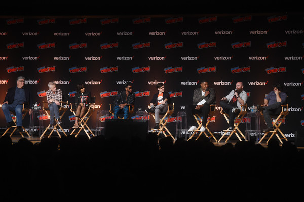 Nickelodeon At New York Comic-Con 2018 [performance,stage,event,musical theatre,musical instrument,concert,orchestra,performing arts,musician,musical ensemble,rob paulsen,maurice lamarche,omar benson miller,josh brener,mychal denzel smith,kat graham,ant ward,l-r,nickelodeon,new york comic-con]