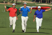 Edoardo Molinari of Italy, Matteo Manassero of Italy, and Francesco Molinari of Italy make a remarkbly talented Italian threesome who are playing in the 2010 Omega Dubai Desert Classic on the Majilis Course at the Emirates Golf Club, the next time they will play in a tournament together will be in the first Major of 2010 at the Masters Tournament at Augusta National in April. This image was taken on February 2, 2010 in Dubai, United Arab Emirates.