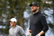 Justin Timberlake looks on during the Pro - Am prior to the start of the Omega European Masters at Crans-sur-Sierre Golf Club on August 28, 2019 in Crans-Montana, Switzerland.