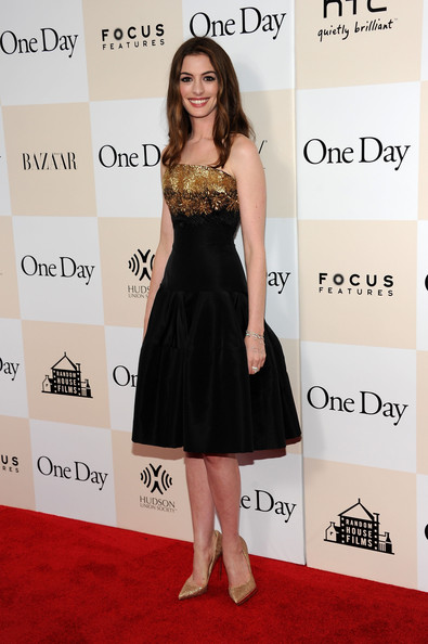 "Anne Hathaway attends the ""One Day"" premiere at the AMC Loews Lincoln Square 13 theater on August 8, 2011 in New York City."
