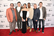 "(L-R) Gideon Tadmor, director Takashi Doscher, Freida Pinto, Leslie Odom Jr., producer Eyal Rimmon, and executive producer Jim Kaufman attend the World premiere of ""Only"" during the 2019 Tribeca Film Festival at SVA Theater on April 27, 2019 in New York City."