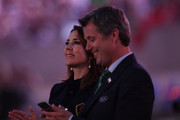 Princess Mary of Denmark and Prince Frederik of Denmark applaud team of Denmark during the Opening Ceremony of the Rio 2016 Olympic Games at Maracana Stadium on August 5, 2016 in Rio de Janeiro, Brazil.