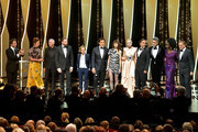 Host of the festival Edouard Baer, Jury Members Alice Rohrwacher, Robin Campillo, Yorgos Lanthimos, Kelly Reichardt, Javier Bardem, Charlotte Gainsbourg, Jury Member Elle Fanning, wearing Chopard jewels, President of the Main competition jury Alejandro Gonzalez Inarritu, Jury Members Pawel Pawlikowski, Maimouna N'Diaye and Enki Bilal attend the Opening Ceremony during the 72nd annual Cannes Film Festival on May 14, 2019 in Cannes, France.
