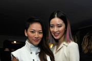 Fashion blogger Tina Leung (L) and model Irene Kim attend Opening Ceremony and Calvin Klein Jeans' celebration launch of the #mycalvins Denim Series with special guest Kendall Jenner at Chateau Marmont on April 23, 2015 in Los Angeles, California.