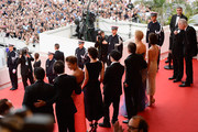 (L-R) Screenwriter and Producer Arash Amel, a guest, Jeanne Balibar, director Olivier Dahan, Tim Roth, Nicole Kidman and Paz Vega attend the Opening ceremony and the 'Grace of Monaco' Premiere during the 67th Annual Cannes Film Festival on May 14, 2014 in Cannes, France.
