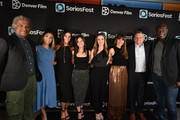 (L-R) Elvis Mitchell, Michelle Fries, Kaily Smith Westbrook, Randi Kleiner, Allison Greenburg Millice, Betsy Leighton, Ted Sarandos and Peter Mensah at SeriesFest Season 5 opening night at Sie FilmCenter on June 21, 2019 in Denver, Colorado.