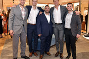 Gordie Gronkowski, Jimmy Marshall, Goon, Rob Gronkowski and guest attend the Opening of the Salvatore Ferragamo Copley Place store on November 2, 2017 in Boston, Massachusetts.