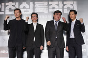 (L to R) Actor Liam Neeson, director John Lee, producer Jeong Tae-Won and actor Lee Jung-Jae attend the press conference for 'Operation Chromite' on July 13, 2016 in Seoul, South Korea.