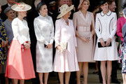 Sophie, Countess of Wessex, Queen Letizia of Spain, Camilla, Duchess of Cornwall, Queen Maxima of the Netherlands and Catherine, Duchess of Cambridge at the Order of the Garter Service at St George's Chapel in Windsor Castle on June 17, 2019 in Windsor, England. The Order of the Garter is the senior and oldest British Order of Chivalry, founded by Edward III in 1348. The Garter ceremonial dates from 1948, when formal installation was revived by King George VI for the first time since 1805.