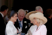 Camilla, Duchess of Cornwall and Catherine, Duchess of Cambridge at the Order of the Garter Service at St George's Chapel in Windsor Castle on June 17, 2019 in Windsor, England. The Order of the Garter is the senior and oldest British Order of Chivalry, founded by Edward III in 1348. The Garter ceremonial dates from 1948, when formal installation was revived by King George VI for the first time since 1805.