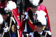 Prince Andrew, Duke of York (Front-R) Prince Edward, Earl of Wessex (Front-R), Prince Charles, Prince of Wales (back-L) and Prince William, Duke of Cambridge (back-R) march during the Order Of The Garter Service at Windsor Castle on June 18, 2018 in Windsor, England. The Order of the Garter is the senior and oldest British Order of Chivalry, founded by Edward III in 1348. The Garter ceremonial dates from 1948, when formal installation was revived by King George VI for the first time since 1805.