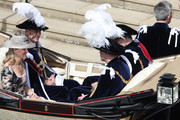 Prince Andrew, Duke of York (Front-R), Prince William, Duke of Cambridge (Front-L),  Prince Edward; Earl of Wessex (Back-R) and  Sophie, Countess of Wessex (Back-L) ride in a carriage during the Order Of The Garter Service at Windsor Castle on June 18, 2018 in Windsor, England. The Order of the Garter is the senior and oldest British Order of Chivalry, founded by Edward III in 1348. The Garter ceremonial dates from 1948, when formal installation was revived by King George VI for the first time since 1805.