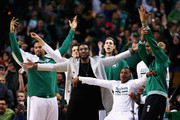 From left, Jared Sullinger #7 of the Boston Celtics, R.J. Hunter #28, Jae Crowder #99, Kelly Olynyk #41 and Terry Rozier #12 react after Isaiah Thomas #4 scored against the Orlando Magic during the fourth quarter at TD Garden on March 21, 2016 in Boston, Massachusetts.The Celtics defeat the Magic 107-96.