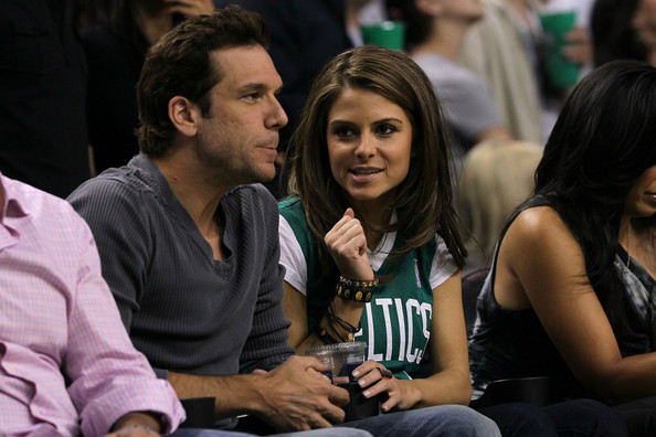 Maria Menounos (L-R) Comedian/Actor Dane Cook and actor/television personality Maria Menounos attend Game Six of the Eastern Conference Finals between the Boston Celtics and the Orlando Magic during the 2010 NBA Playoffs at TD Garden on May 28, 2010 in Boston, Massachusetts.  NOTE TO USER: User expressly acknowledges and agrees that, by downloading and/or using this Photograph, user is consenting to the terms and conditions of the Getty Images License Agreement.