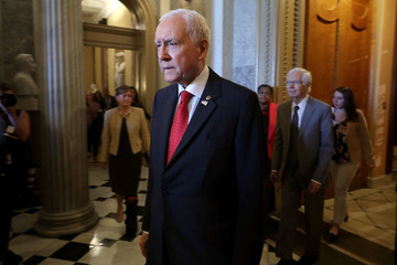 Orrin Hatch Senators Debate Health Care Bill On Capitol Hill