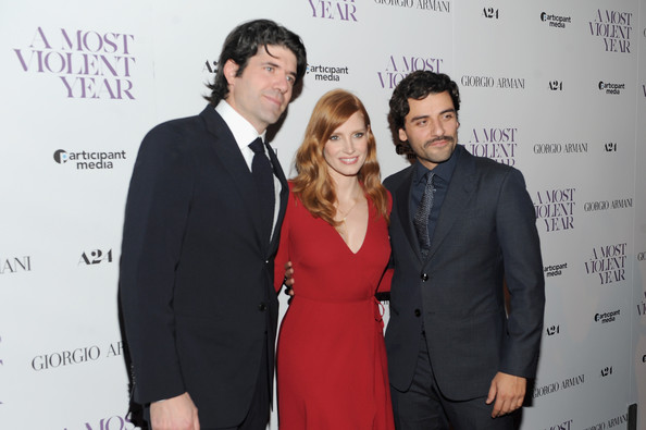 """""""A Most Violent Year"""" New York Premiere [a most violent year,event,premiere,fashion,suit,white-collar worker,formal wear,tuxedo,carpet,oscar isaac,j.c. chandor,jessica chastain,l-r,new york,florence gould hall,premiere,new york premiere]"""
