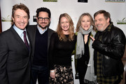 (L-R) Martin Short, J.J. Abrams, Paula Malcomson, Catherine O'Hara, and Mark Hamill attend the Oscar Wilde Awards 2018 at Bad Robot on March 1, 2018 in Santa Monica, California.