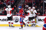 Erik Condra #22 of the Ottawa Senators celebrates his third period goal with teammates during Game Five of the Eastern Conference Quarterfinals of the 2015 NHL Stanley Cup Playoffs at the Bell Centre on April 24, 2015 in Montreal, Quebec, Canada.  The Senators defeated the Canadiens 5-1.