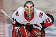 Craig Anderson #41 of the Ottawa Senators warms up prior to playing against the Toronto Maple Leafs in an NHL game at the Air Canada Centre on February 10, 2018 in Toronto, Ontario, Canada.